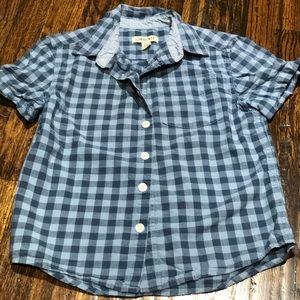 Blue plaid, short sleeve button down shirt
